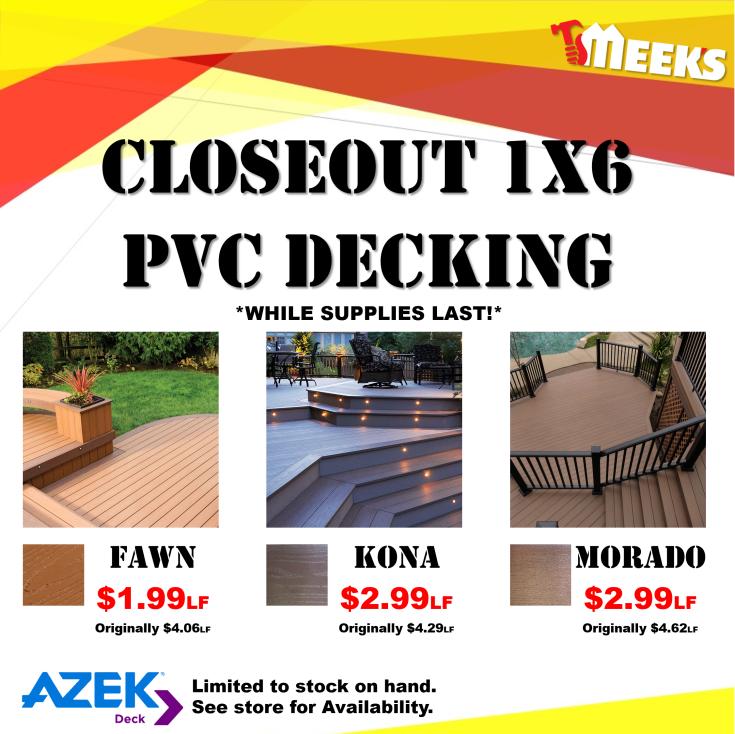 CloseoutDeckingPVC 15x15