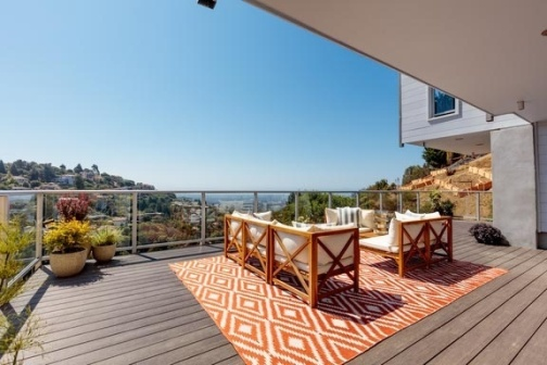 AZEK Deck on a raised patio looking towards the coast